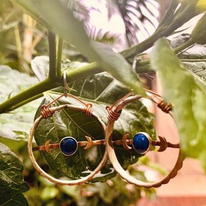 Lapis moon hoops
