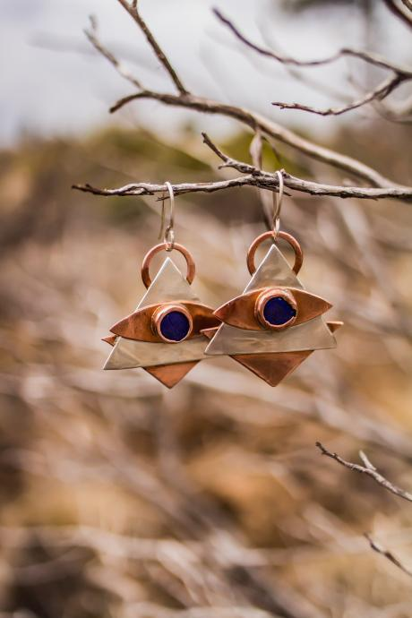Lapis lazuli third eye earrings