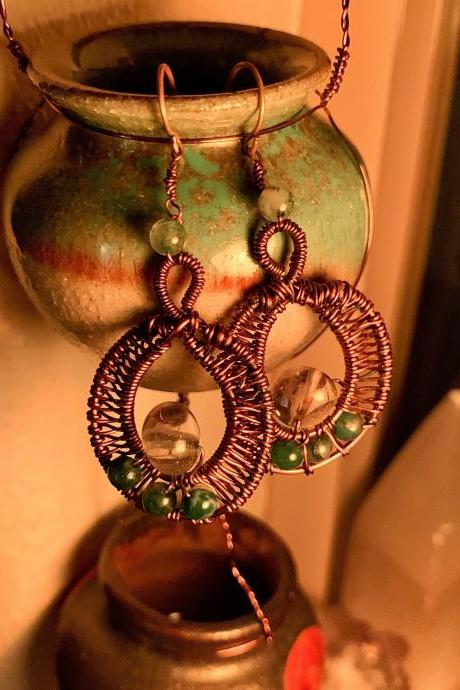 Moss agate and amethyst earrings
