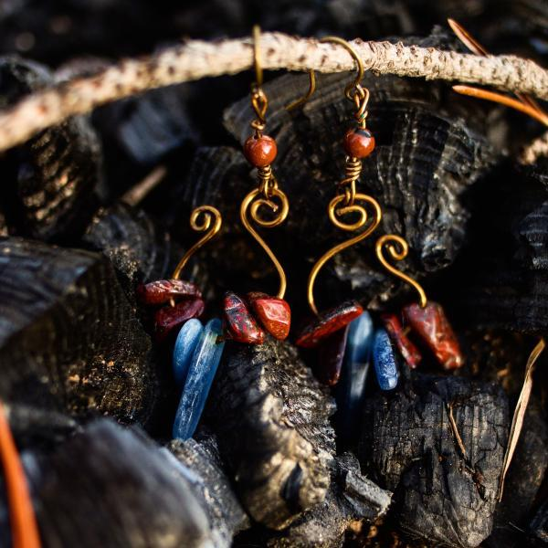 Kyanite & red jasper earrings.